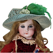 SFBJ Lovely Vintage Green Bisque Doll Hat from France!