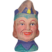 German Antique Puppet Theater Doll Head Jester Terra Cotta!