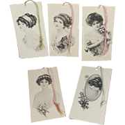 Beautiful Antique Gibson Girl Bridge Tally Cards 1911-1912 - Unused!