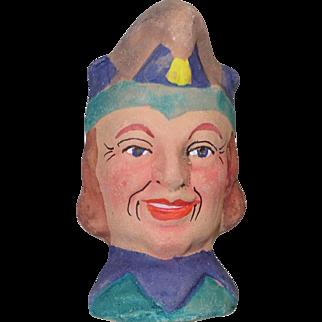 German Antique Puppet Theater Doll Head Jester Terra Cotta!