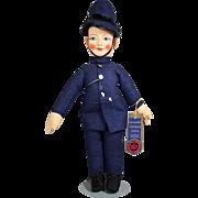 Vintage Cloth Chad Valley Police Man Bobby Doll w Tag!