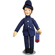 Vintage Cloth Chad Valley Police Man Bobby Doll w Tag!