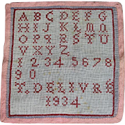 Darling 1934 French ABC School Sewing Sampler Abecedaire Red & White Stitching!
