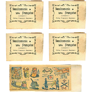 4 Old Store Stock Antique c1914 WWI France Soldier Litho Toy Tattoos