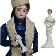 Lovely c1920s Bisque Wedding Bride Doll Sized Figurine Cake Topper!