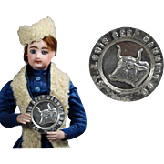 Antique c1890s Mini Doll Size Tin Salesman Sample Advertising Plate St. Louis Beef Canning Co. Tip Tray