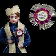 "Antique WWI Era French Foil Pin - Perfect Doll Size!  ""Bon Pour Les Filles"" (Good for the Girls)"