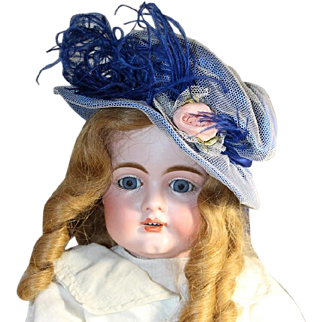 Lovely Vintage Blue Bisque Doll Hat - Feathers, Ribbon Rose, Bow