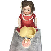 French Mini Powder Puff in Celluloid Box for French Fashion Doll!