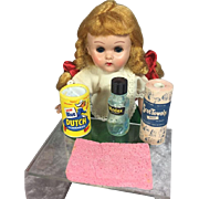 Vintage My Merry Doll Cleaning Items - Ginny Size!  Mini Paper Towels, Soap, Etc.
