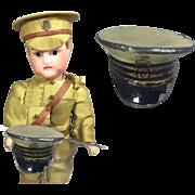 Antique French Mini Doll Military Captain Hat - Soldier Memento - Enamel Painted Metal