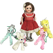 4 Darling Doll Sized Vintage Chenille Dogs - for Dolly to Take for a Walk!