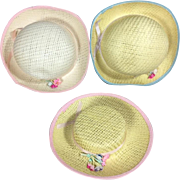 """Old Store Stock Doll Hats - 1950s Straw w Flowers! For 14-18"""" Dolls"""