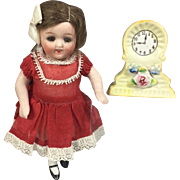 Lovely! Doll Size Dollhouse Clock - Occupied Japan - Yellow!