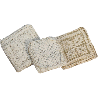 3 Antique Doll Sized French Lace Packs from Brittany France