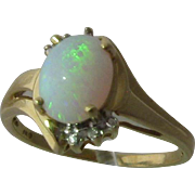 Vintage 10K Yellow Gold 1.8 Carat Opal Diamonds Ring Sz 8 1/4