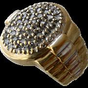 10K Steel Gray Diamonds Rolex-Style Ring Sz 5 1/4