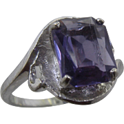 10K White Gold Synthetic Purple Sapphire Cocktail Ring Sz 7
