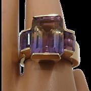 14K Ametrine & Amethyst Ring Emerald Cut 9 CTW Sz 7
