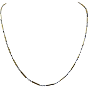 14K White & Yellow Gold Ball & Bar Chain Necklace 18""