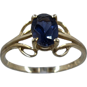 Delicate 14K Yellow Gold Iolite Solitare Ring .7 Carat Sz 7