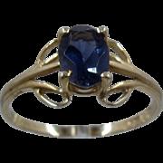 Delicate 14K Yellow Gold Iolite Solitare Ring .7 Carat Sz 7