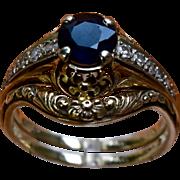 14K Van Craeynest  Ring Set Sapphire Diamonds Sz 6 1/2
