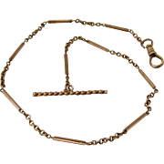 Ca 1900 14K Gold Watch Chain w/ T-Bar 14""
