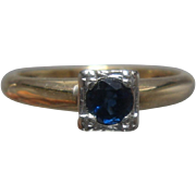 14K/18K Y & W Gold Sapphire Ring Square Size 6 1/4