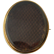 1889 15K Gold Mourning Pin Woven Hair