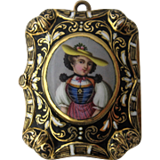 Early 1800s 18K French Enamel Vinaigrette Pendant Tyrolean Woman Portrait