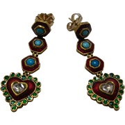 22K Diamond Turquoise Enamels Mughal-Style Dangle Heart Earrings