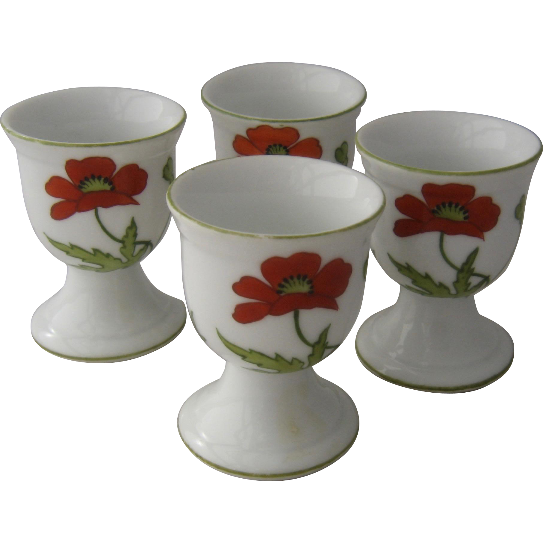 Set 4 Ca 1930s Egg Cups W Poppies Hand Painted Bone China