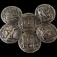 Set 6 Peruvian Sterling Buttons Sun God & Lama Designs