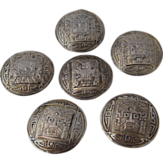 Set 6 Peruvian Sterling Buttons Pre-Inca Sun God Designs