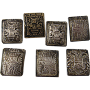 Set 7 Peruvian Sterling Buttons Rectangular Pre-Inca  Designs