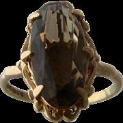 9K Gold Smoky Quartz Ring 1969 Charles Lyster England Sz 5 3/4