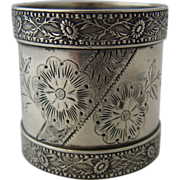 Aesthetic Napkin Ring American Coin Silver Sunflowers 1880s