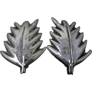 Early Hector Aguilar Sterling Palm Leaf Earrings Screw Back