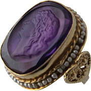 Early 1900s 10K Synthetic Sapphire Cameo Ring w/ Seed Pearls Sz 6 1/2
