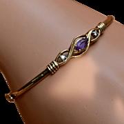 """14K Amethyst Diamonds Bangle Bracelet 6 3/4"""""""