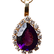 Stunning 18K Amethyst 13 Ct & Diamonds 3 TCW Necklace