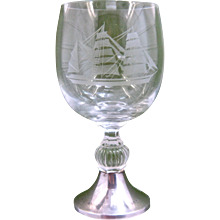 1985 Sail Amsterdam Commemorative Crystal Goblet w/ Sterling Foot Dutch