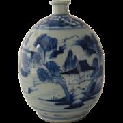 Antique Blue & White Canton Porcelain Vase Ca Early 1800s