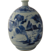 Antique Blue & White Canton Porcelain Vase Ca Early 1800s