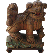 Antique Chinese Carved Wood Foo Dog Shi Shi Lion w/ Cub
