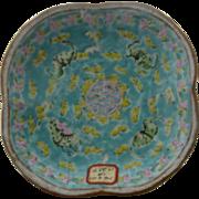 Antique Chinese Enamel Porcelain Bowl Bats & Butterflies