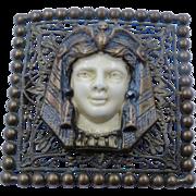 Ca 1900 Egyptian Revival Pharaoh Head Pin Brass Celluloid