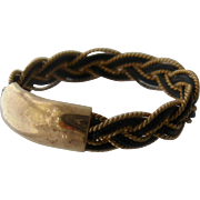Antique 1800s Elephant Hair Braided w/ Gold Ring Size 8
