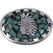 Early Jose Anton Taxco Sterling Turquoise Inlay Aztec Warrior Pin